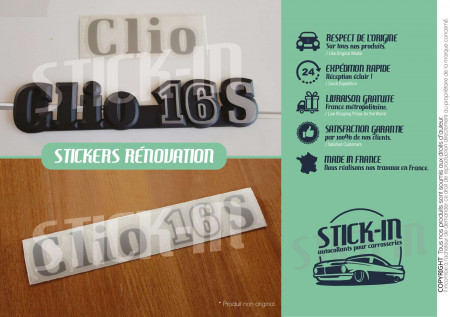 Renovation Autocollants Stickers Monogrammes Renault Clio 16S