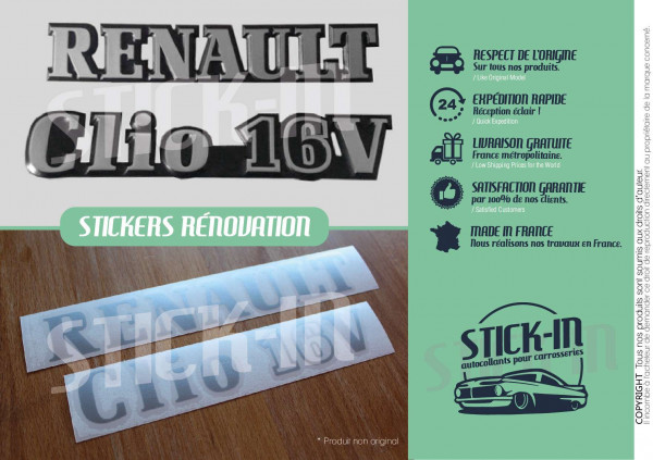 Stickers Decals Renault Clio 16V Monograms Rear Renovation Logos Badges