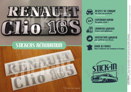 Repair kit stickers monograms Renault Clio 16S logos badges