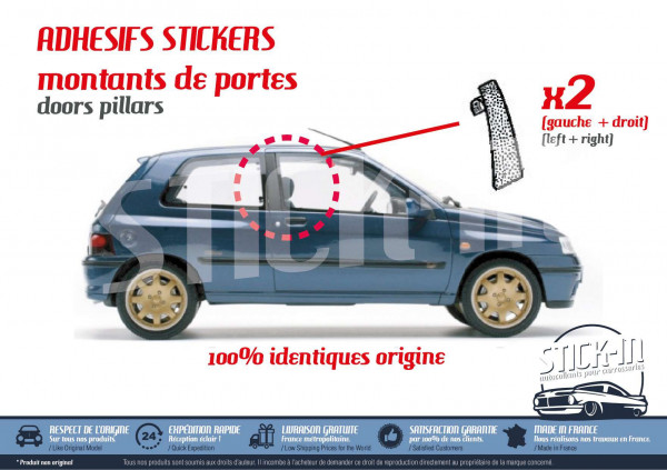 Textured stickers replacement b pillars doors Renault Clio Williams 16S Baccara RSI S
