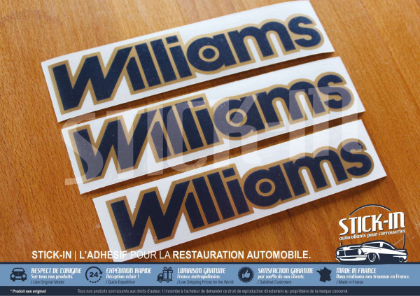 3 autocollants monogrammes Renault Clio Williams phase 2 bleu et or