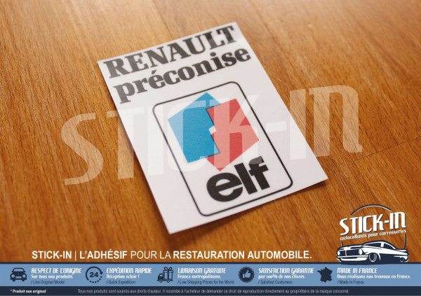 "Stickers ""Renault Préconise ELF"" Clio Williams 16V R21 R19 R5 R25 R11"