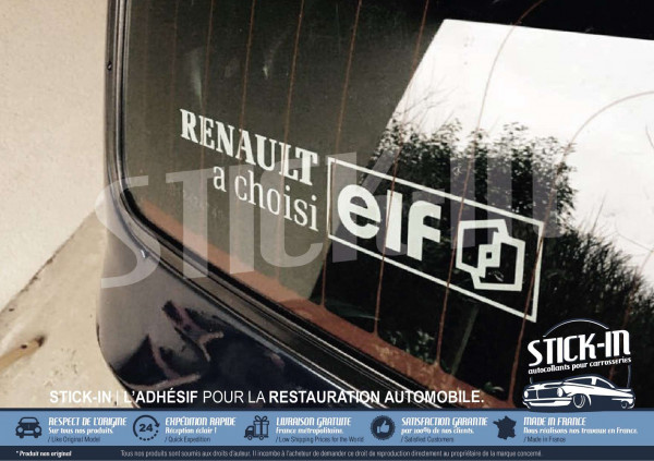 "stickers rear windows ""Renault a choisi elf"" clio williams 16s 16v"