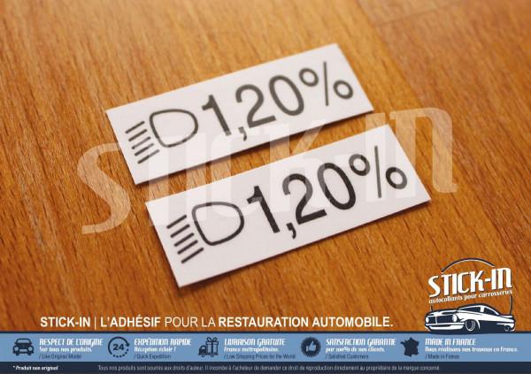 Autocollants Stickers Renault Clio Williams 16S Inclinaison Feux 1.20%