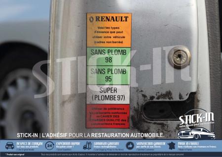 Autocollant Sticker Renault Clio 16S 16V Carburants Sans Plomb 95 98 Porte