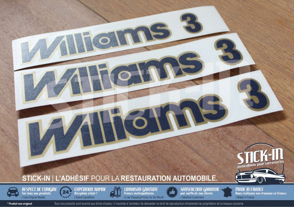 "Renault Clio ""Williams 3"" (version anglaise) 3 autocollants monogrammes bleu et or"