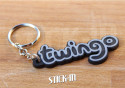 Keychain - Renault Twingo - Black - Logo Monogramm Badge Soft PVC Keyrings