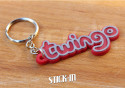 Keychain - Renault Twingo - Red - Logo Monogramm Badge Soft PVC Keyrings