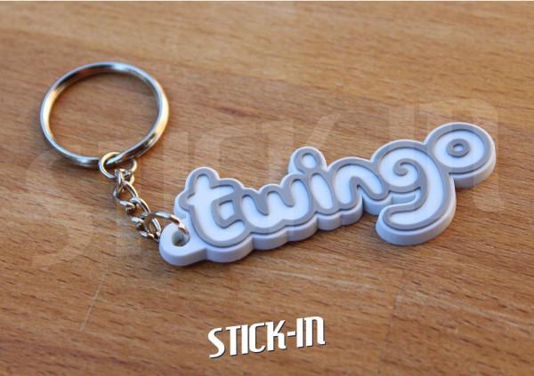 Keychain Logo Renault Twingo Monogramm Badge Soft PVC Keyrings White