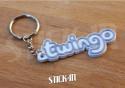 Keychain - Renault Twingo - White - Logo Monogramm Badge Soft PVC Keyrings