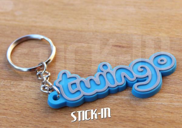 Keychain Logo Renault Twingo Monogramm Badge Soft PVC Keyrings Blue
