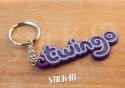 Keychain - Renault Twingo Kenzo - Purple - Logo Monogramm Badge Soft PVC Keyrings