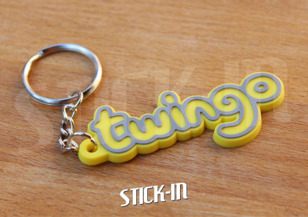 Keychain Logo Renault Twingo Monogramm Badge Soft PVC Keyrings Yellow
