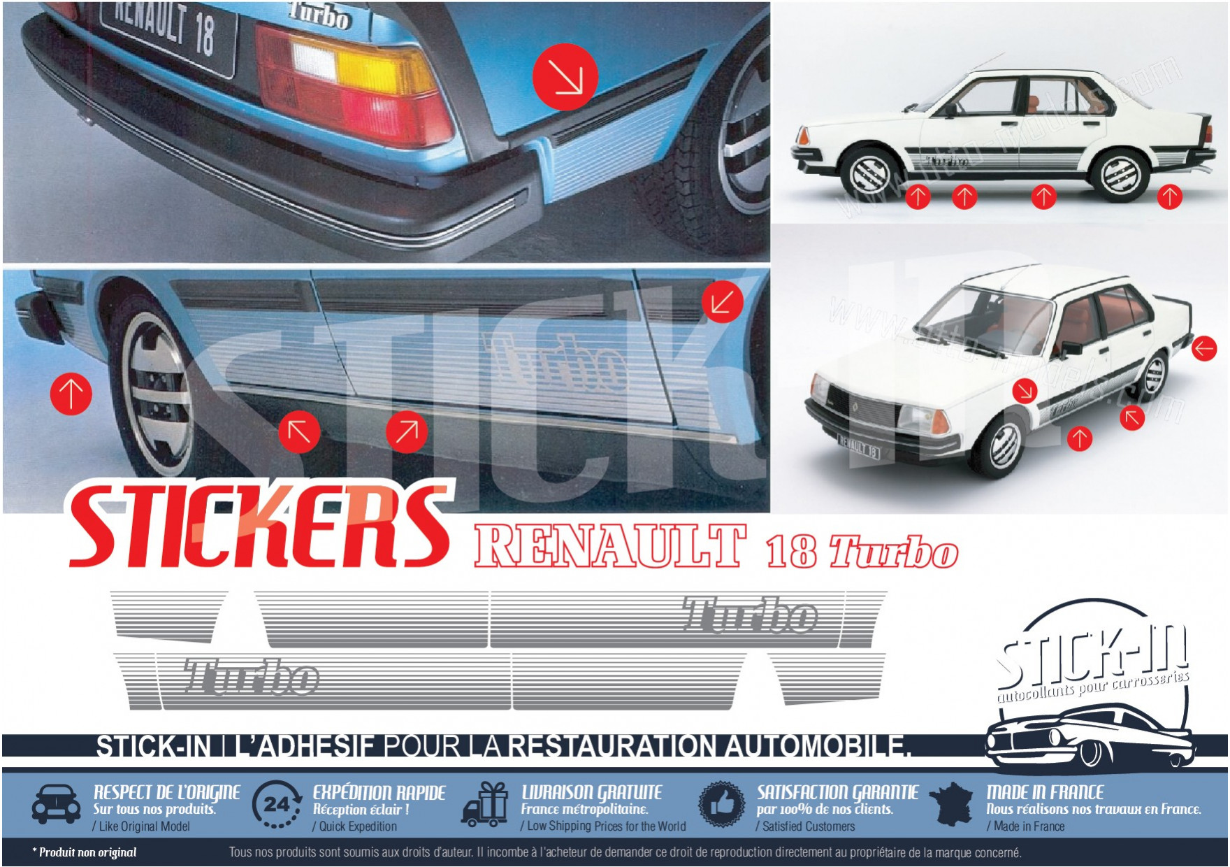 renault 18 turbo r18 stickers stripping decals stick in. Black Bedroom Furniture Sets. Home Design Ideas