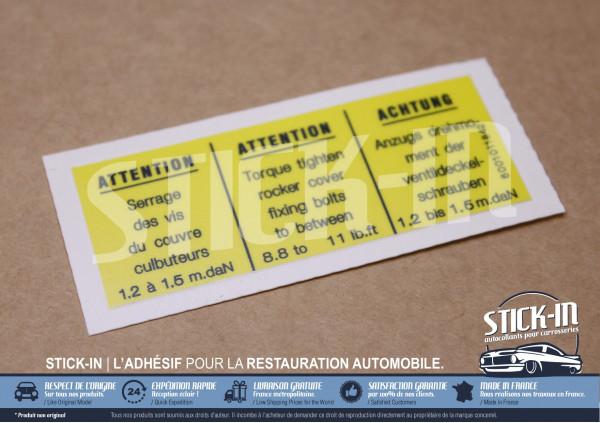 Autocollant Stickers Renault 5 Alpine Turbo serrage vis couvre culbuteurs moteur