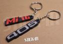 Set of 2 Keychains - Peugeot 405 + Mi16 - soft PVC keyrings monograms badges logos