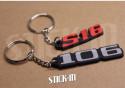 Set of 2 Keychains - Peugeot 106 + S16 - soft PVC keyrings monograms badges logos