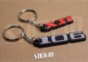 Pack 2 Porte Clés - Peugeot 106 + XSi - PVC souple monogrammes logos