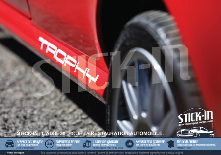 """2 Stickers Decals Side Skirts """"TROPHY"""" - Renault Clio 2 RS Trophy"""