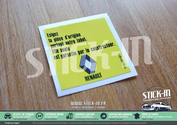 Autocollant Stickers Renault Exigez Pièce Origine R5 GT Turbo 5 Alpine 4L R21