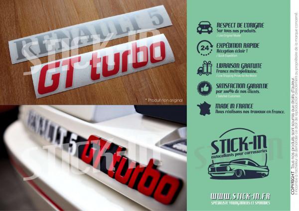 Renovation Logos Badges Monogrammes Arrières Renault 5 GT Turbo R5 GTT Gris Argent & Rouge - Autocollants Stickers