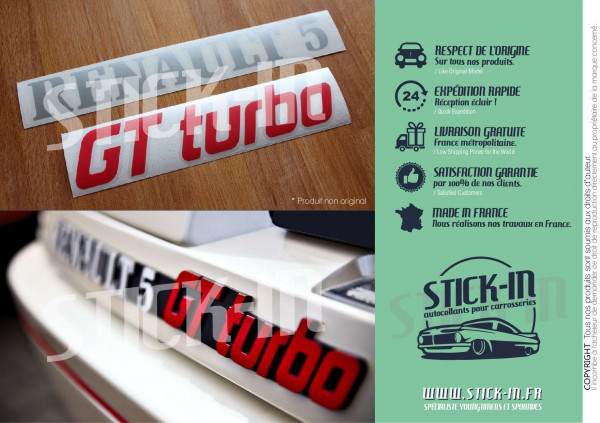 Renovation Logos Badges Monogrammes Arrières Renault 5 GT Turbo R5 GTT Gris Argent & Rouge - Autocollants Stickers