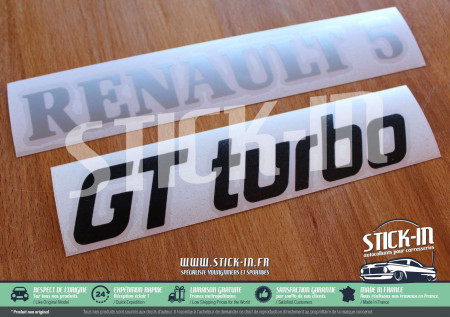 Stickers Renovation Monogrammes Renault 5 GT Turbo R5 GTT Gris Argent & Noir