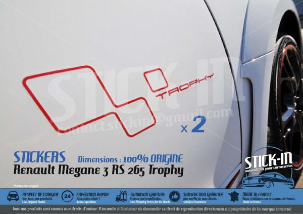 Renault Megane 3 RS TROPHY 265 Stickers Autocollants Portes Doors Decals