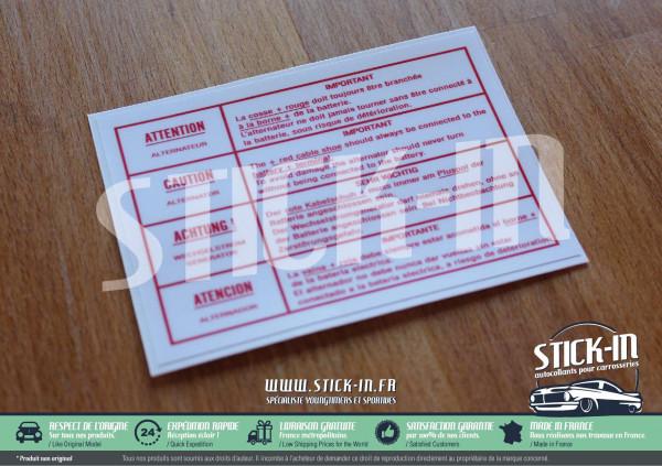 Autocollant Sticker Peugeot 104 204 205 304 305 309 504 604 Alternateur Batterie