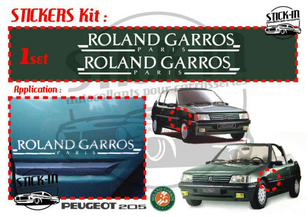 Peugeot 205 Roland Garros Paris Cabriolet 1989 Autocollants Stickers Decals