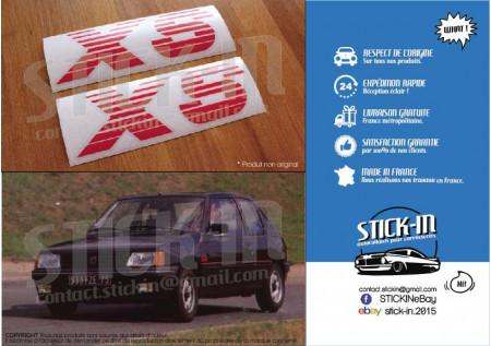PEUGEOT 205 XS 2 Autocollants Stickers Monogrammes Ailes Avants