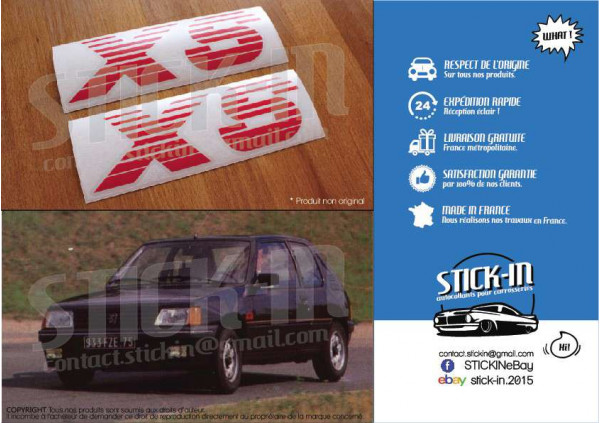 PEUGEOT 205 XS 2 Autocollants Stickers Monogrammes Ailes Avants Carrosserie