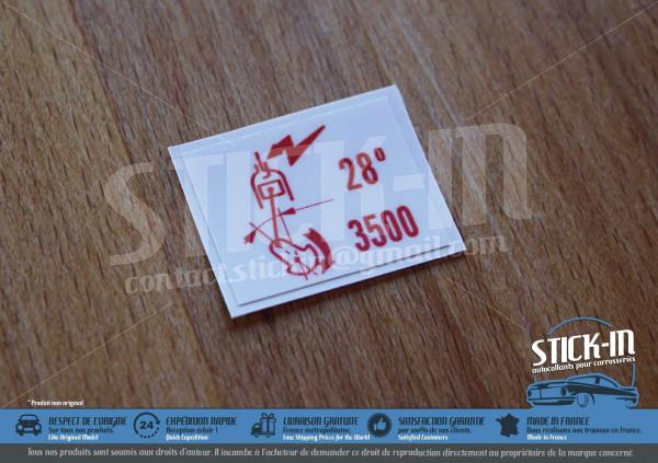 Autocollants Stickers Peugeot 205 GTI 1.6 1.9 Débimètre 28° 3500