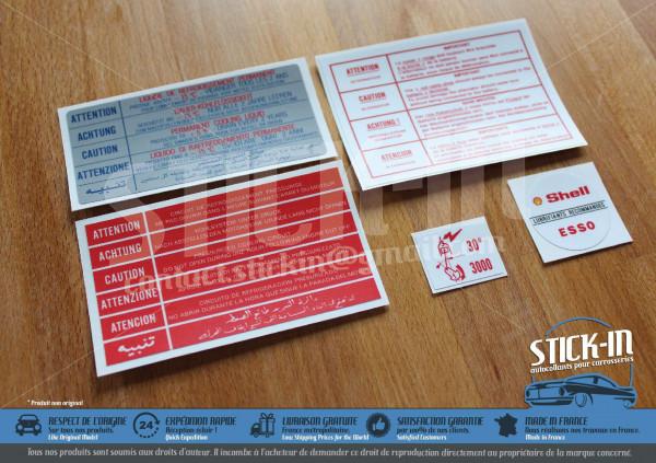 5 Autocollants Stickers Peugeot 205 GTI 1.6L 115 Compartiment Moteur