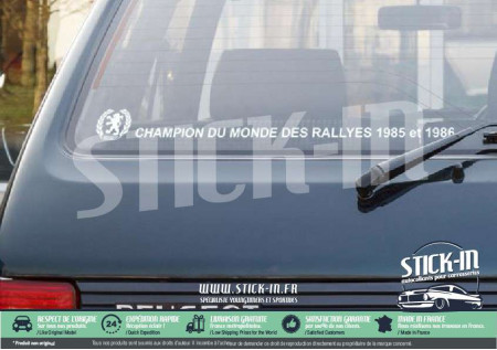 Peugeot 205 Stickers Champion du monde rallyes rear windows gti
