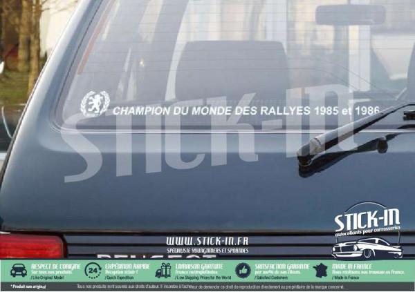Peugeot 205 Stickers Autocollants Champion du monde rallyes lunette arrière