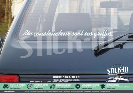 Stickers Un Constructeur Sort Ses Griffes Peugeot 205 Rear Windows