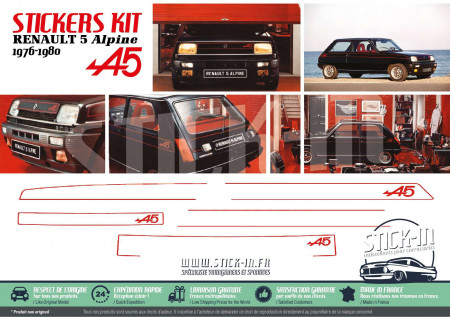 Kit complet Autocollants Carrosserie Renault 5 Alpine 1976 1977 1978 1979 1980 Stickers R5