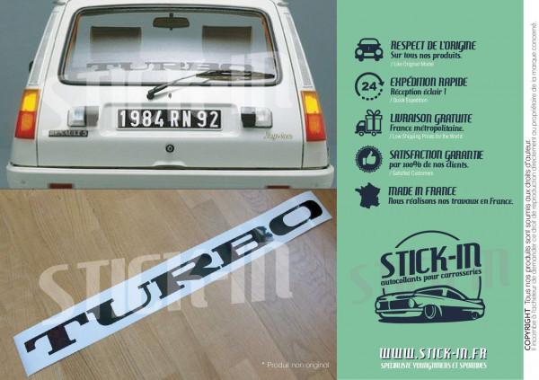 Autocollant TURBO Renault 5 Alpine R5 Maxi 2 vitre arrière stickers