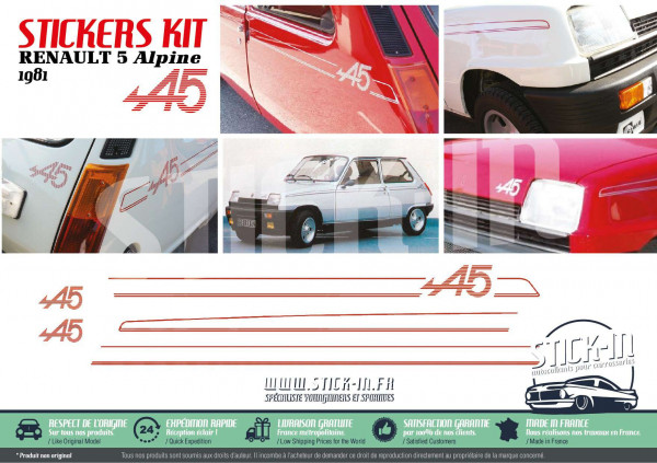 autocollants Renault 5 Alpine 1981 kit stripping carrosserie