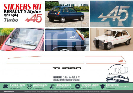 Kit Complet Autocollants Stickers Renault 5 Alpine Turbo A5 1982 1983 1984
