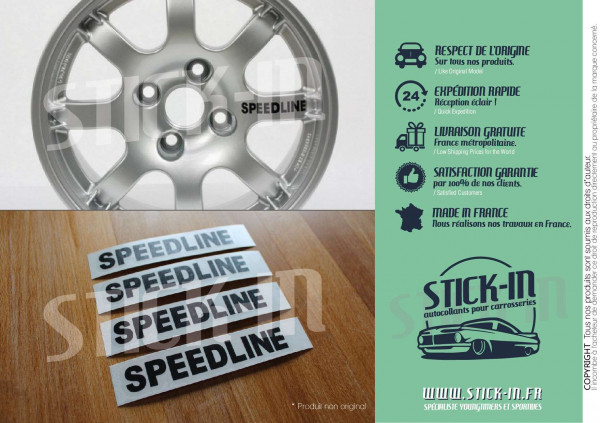 4 Stickers Decals Speedline Wheels Peugeot PTS 205 309 GTI 106 306