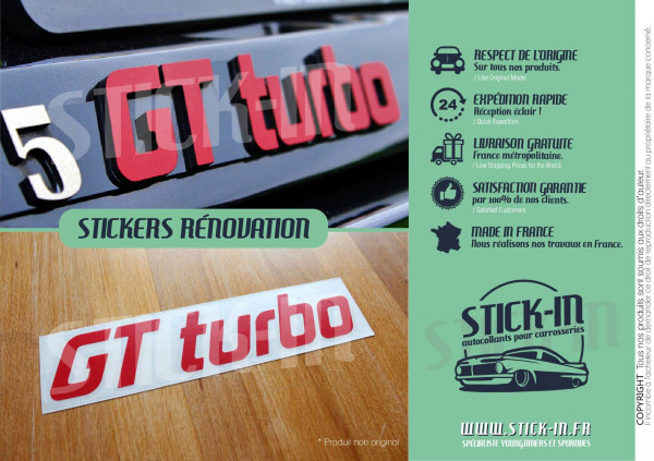 Renovation Monogramme Autocollant Sticker Renault 5 GT Turbo Rouge