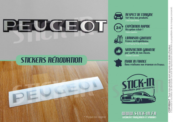 Stickers Peugeot 106 205 309 GTI Renovation Rear Monogram Badge