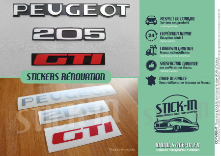 Renovation stickers Logos Badges Rear Monograms Peugeot 205 GTI decals