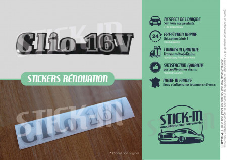 Renovation Autocollant Sticker Monogramme Renault Clio 16V