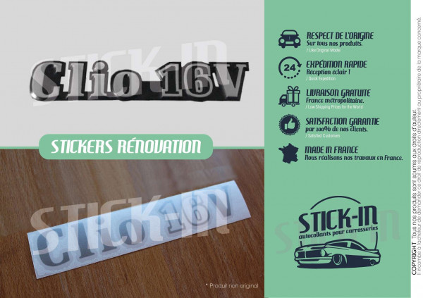 Renovation Autocollants Stickers Monogrammes Renault Clio 16V