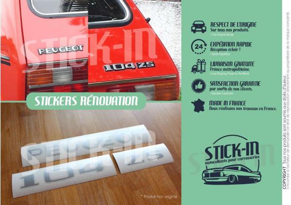 Autocollants Renovation Ensemble Monogrammes Peugeot 104 ZS S Stickers