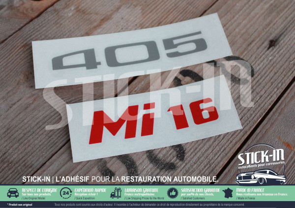 Renovation stickers Logos Badges Rear Monograms Peugeot 405 Mi16 decals