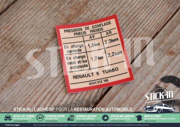 "Autocollan Stickers Renault 5 Turbo Cold tire inflation pressure ""Pression de Gonflage Pneus Froids"""